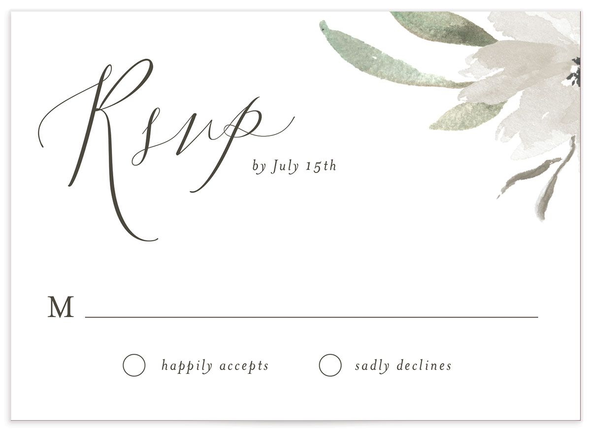 muted floral wedding rsvp cards in white