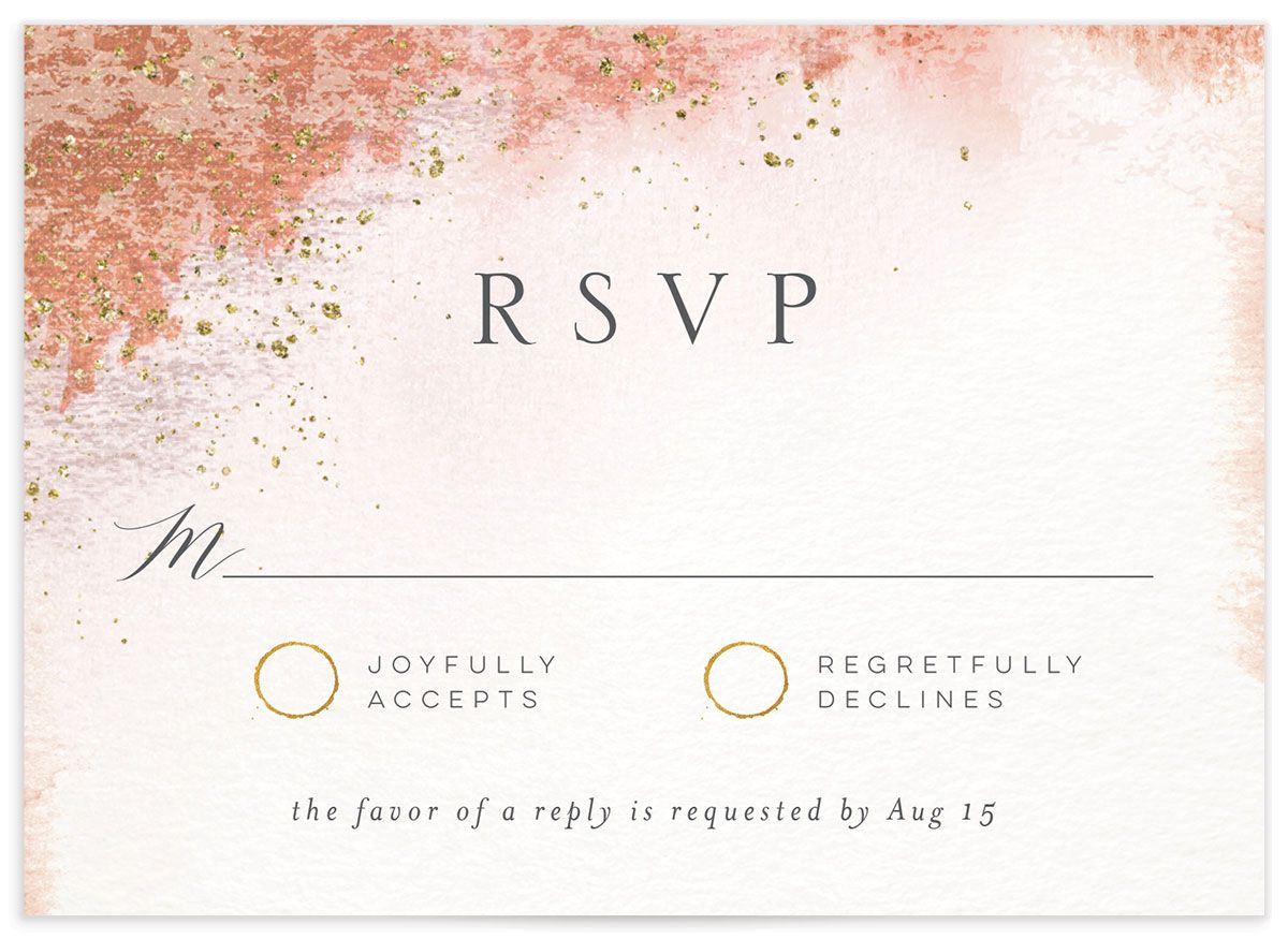 organic luxe wedding response cards in peach