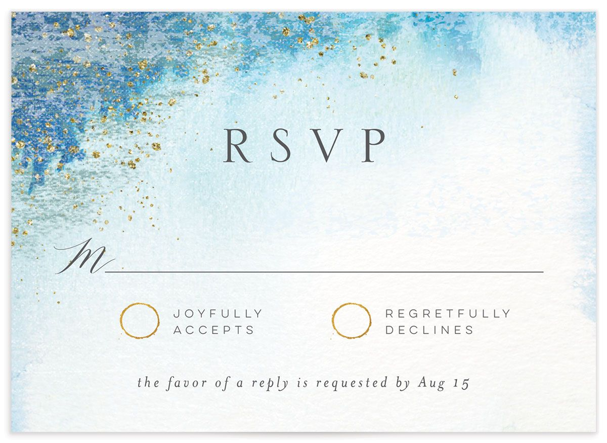 organic luxe wedding response cards in blue