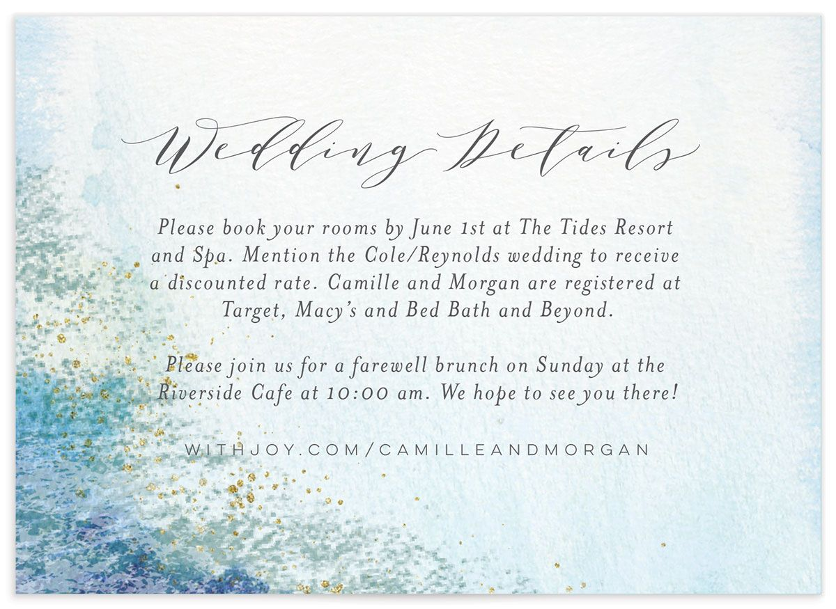 organic luxe wedding enclosure cards in blue
