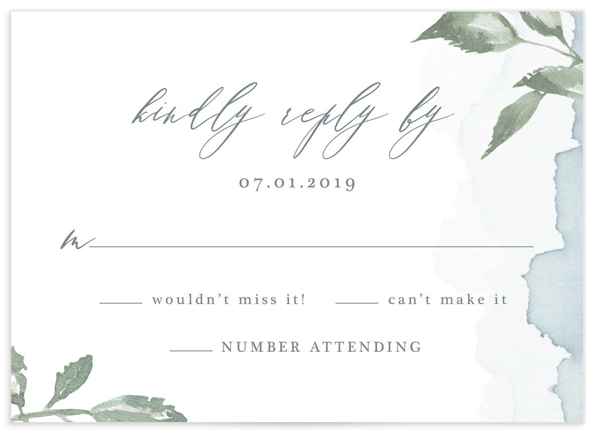 Dusted Calligraphy RSVP cards in blue back CLOSE