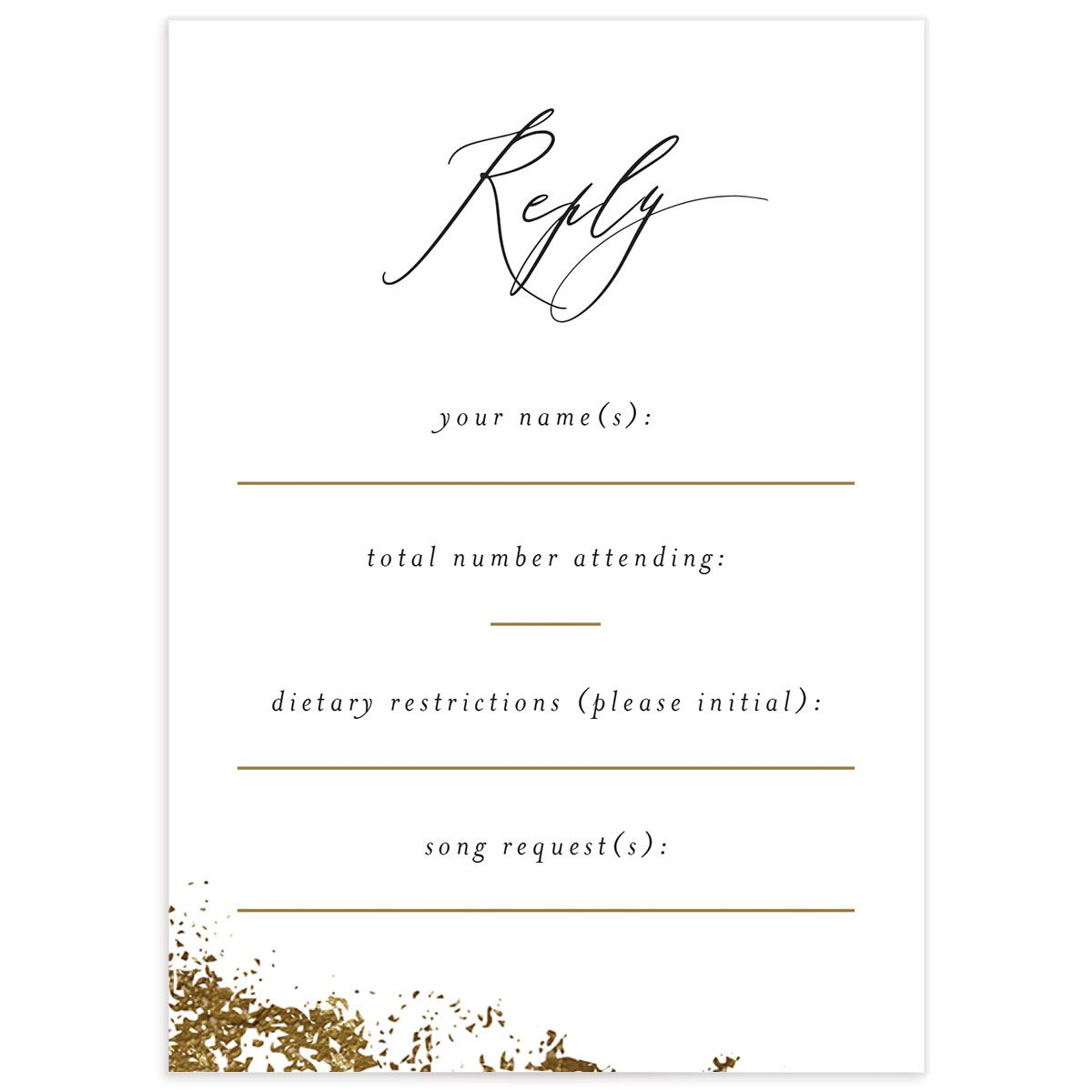 elegant organic wedding rsvp cards back