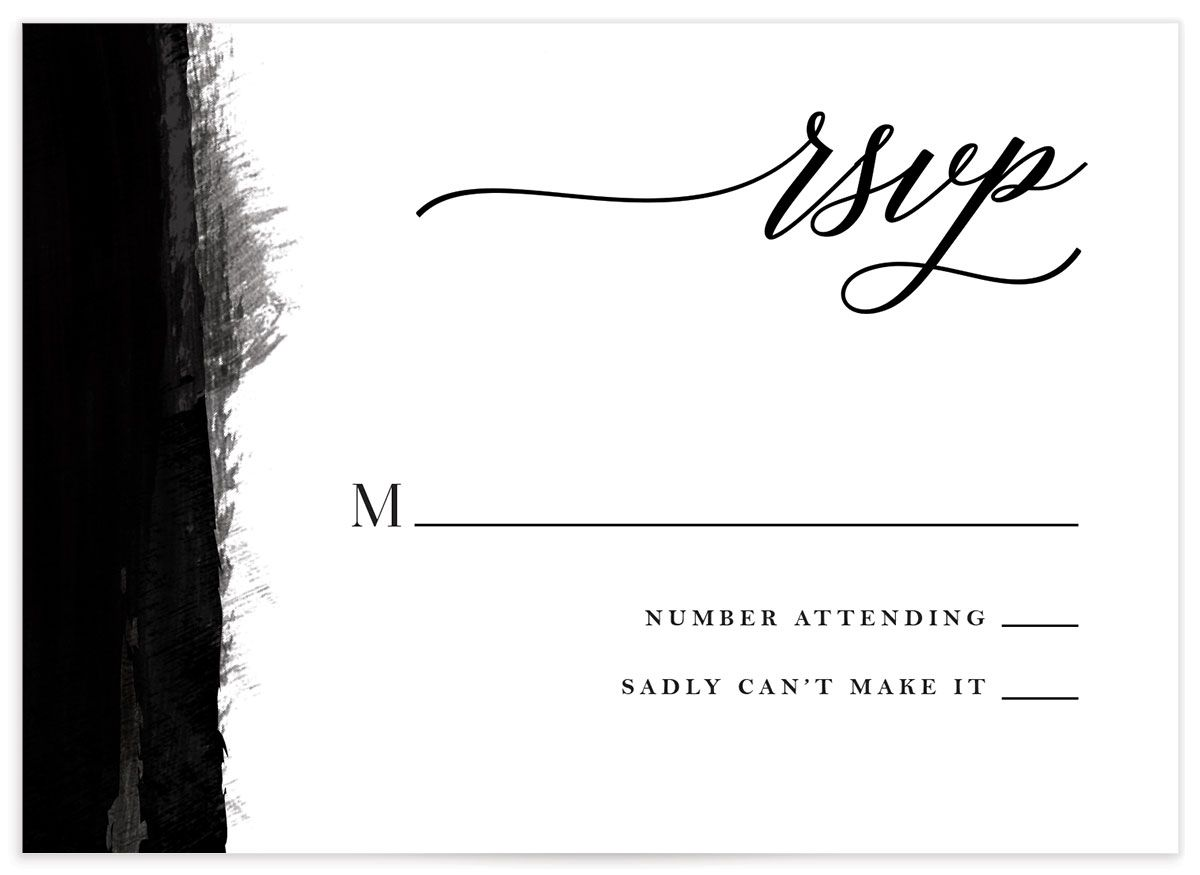 Painted Minimal RSVP cards closeup front
