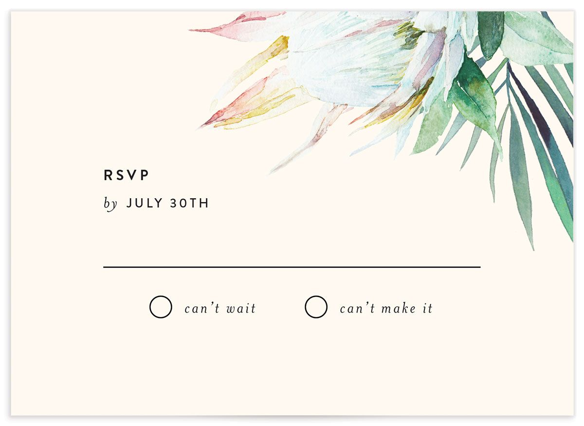 Palm and Protea RSVP cards front closeup