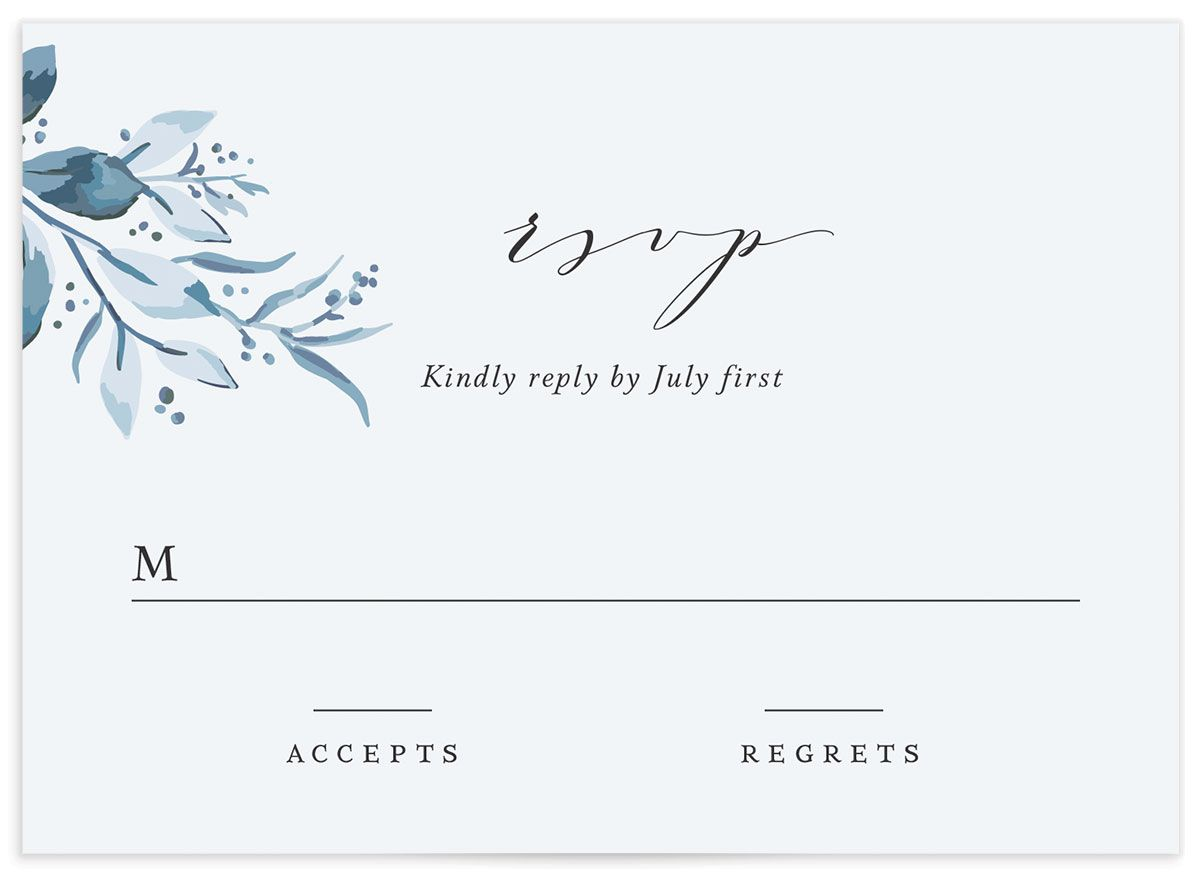 classic greenery wedding response cards in blue