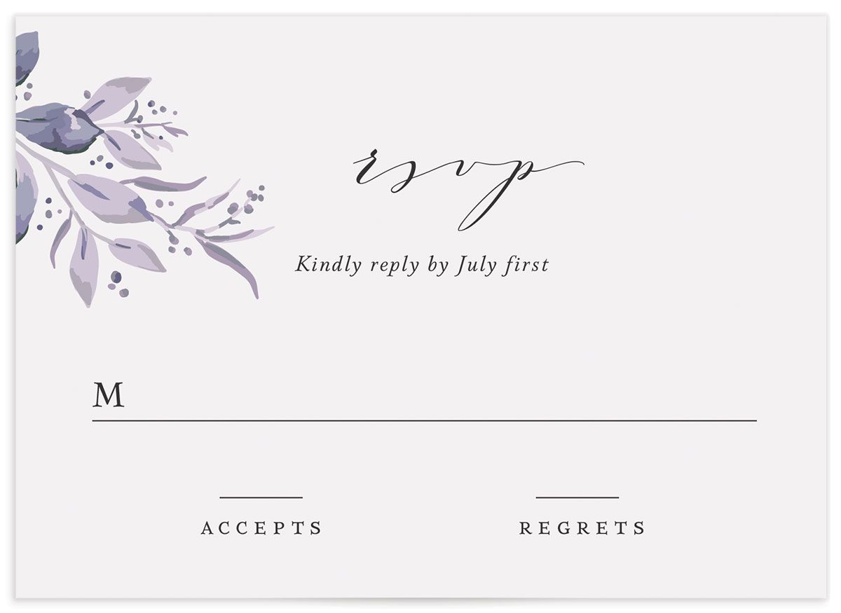 classic greenery wedding response cards in purple