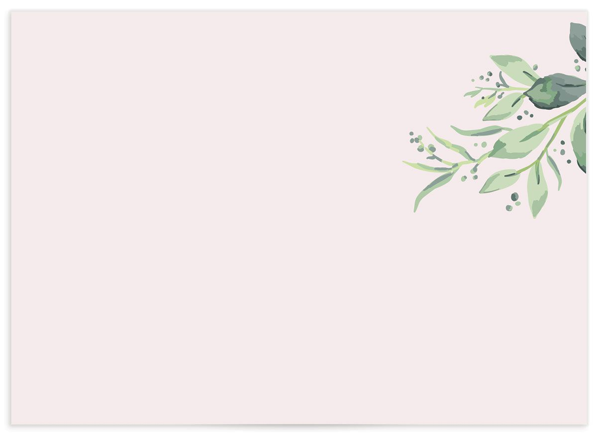 classic greenery wedding response card in pink back