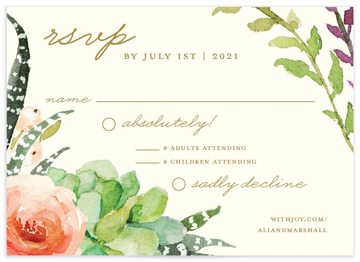 Elegant Oasis Wedding RSVP cards closeup front