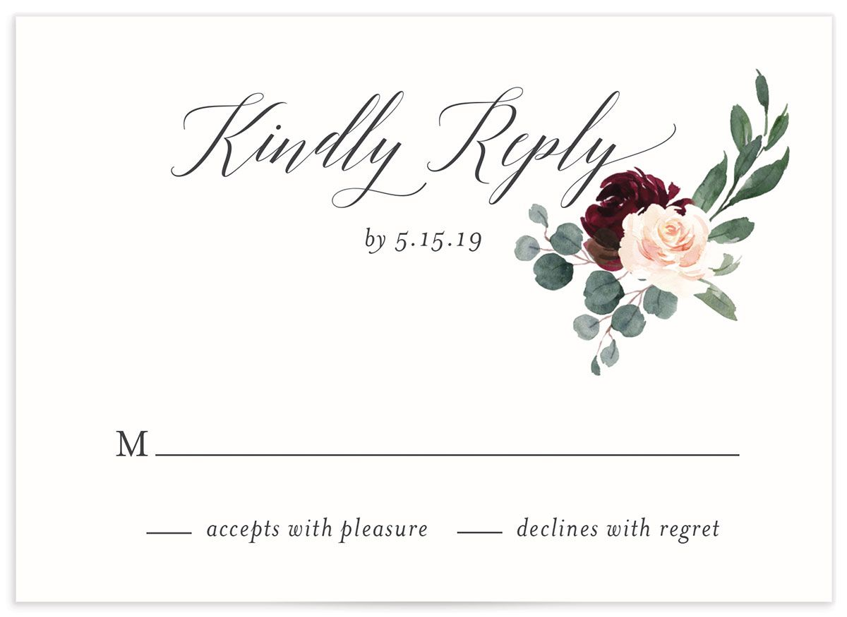 Floral Hoop Wedding RSVP cards