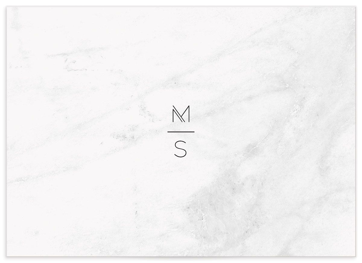 Geometric Marble wedding rsvp cards back
