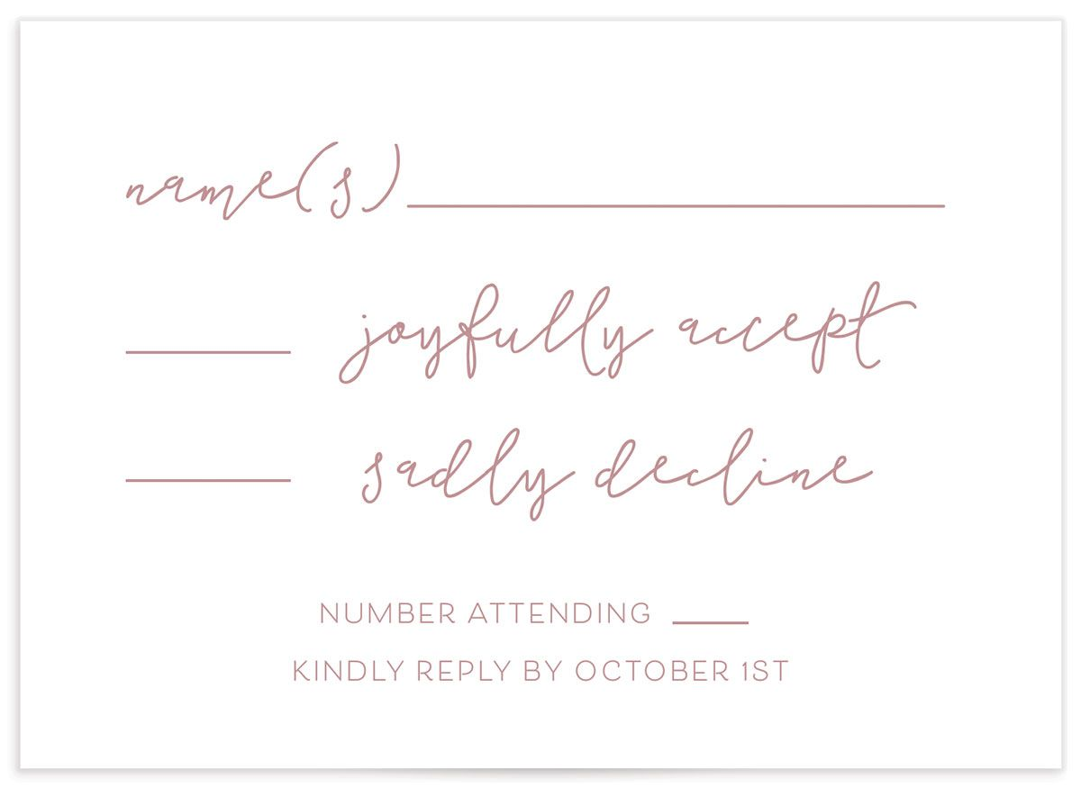 Gold Calligraphy RSVP card closeup in pink front