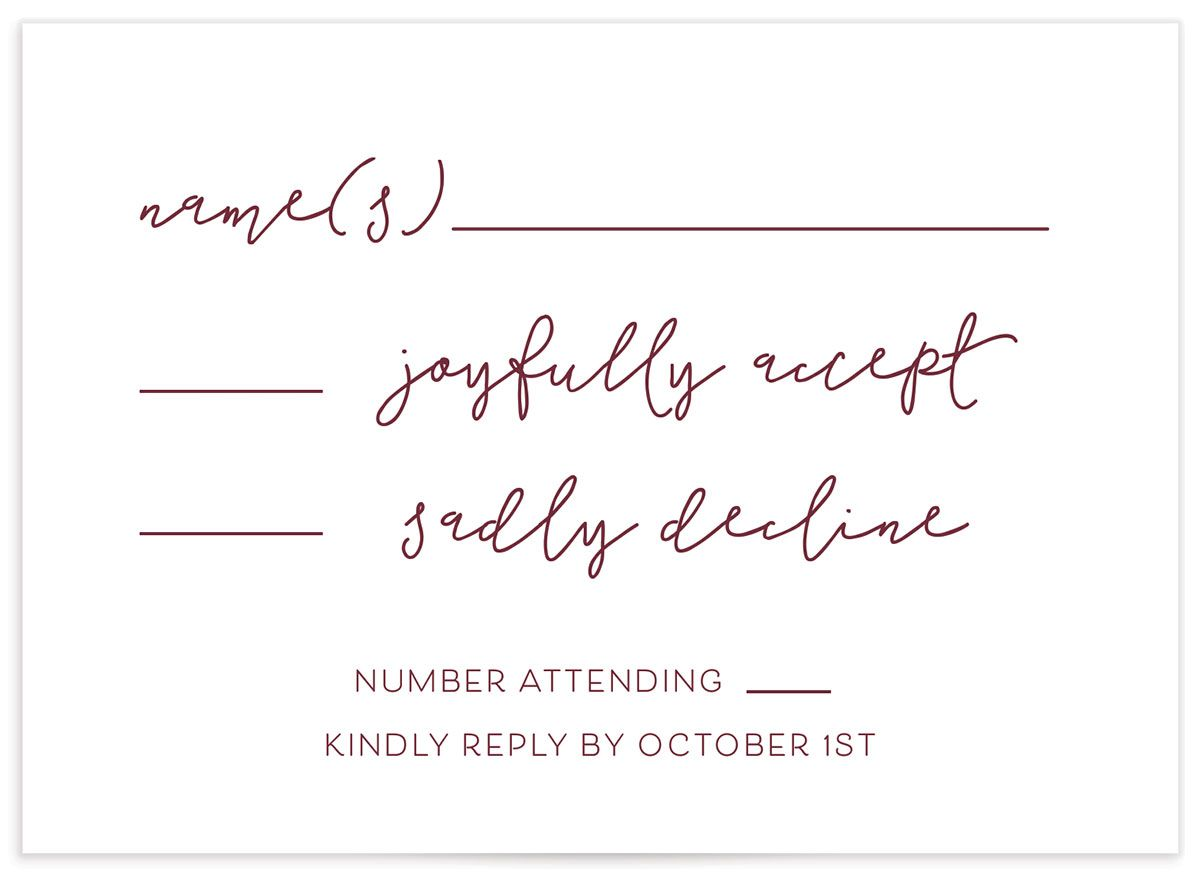 Gold Calligraphy RSVP card closeup in redfront