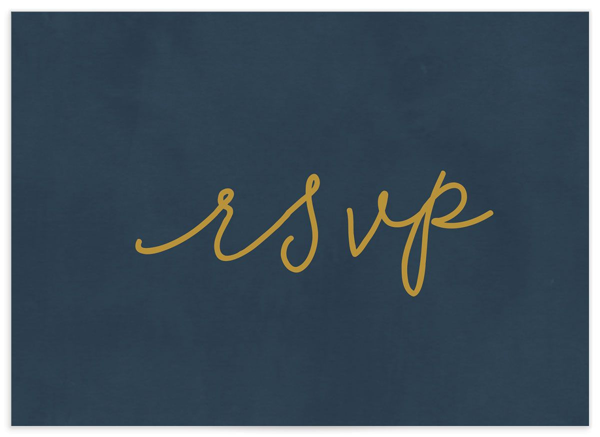 Gold Calligraphy RSVP card closeup in blue back