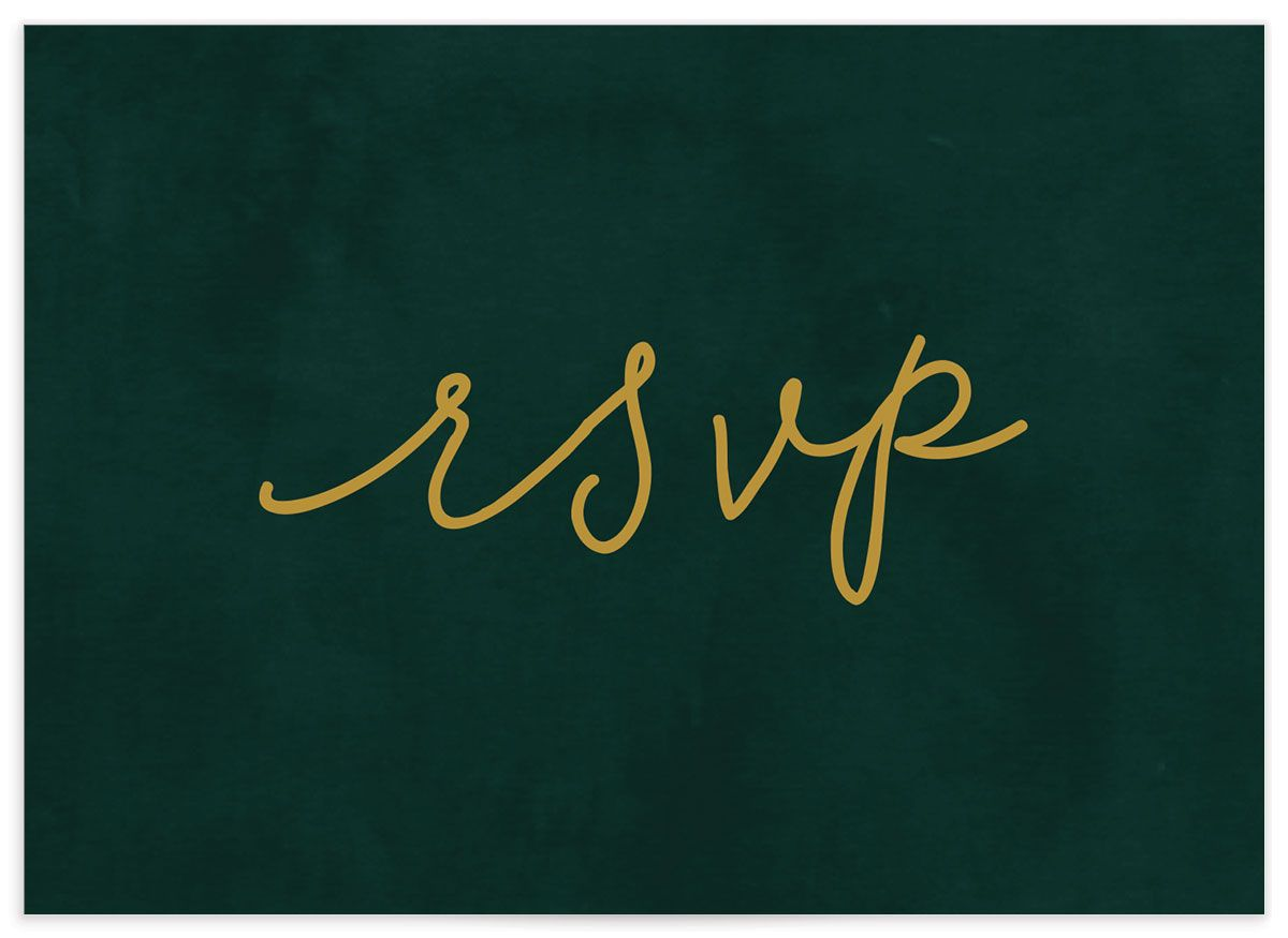 Gold Calligraphy RSVP card closeup in green back