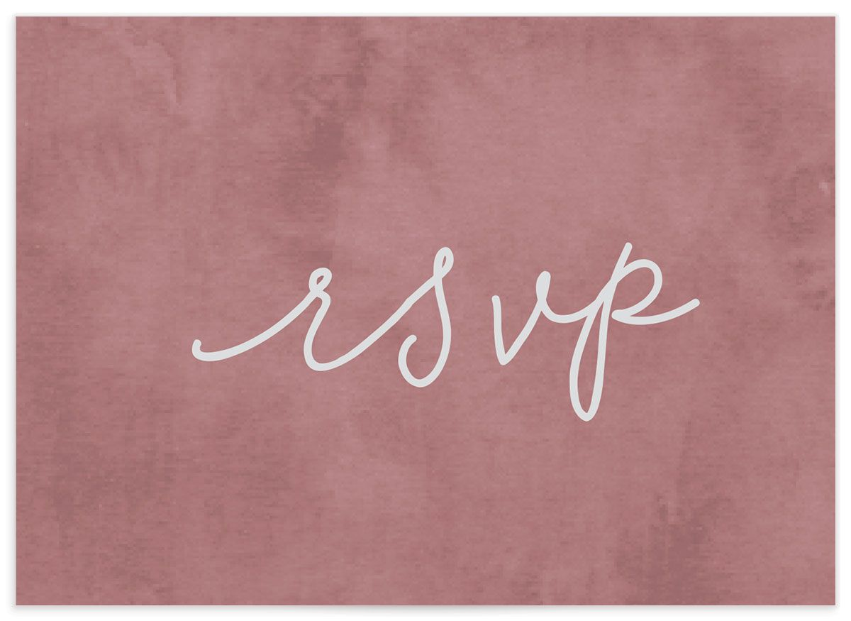 Gold Calligraphy RSVP card closeup in pink back