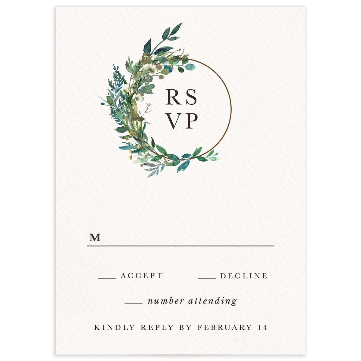 Leafy Hoops Wedding RSVP Card front