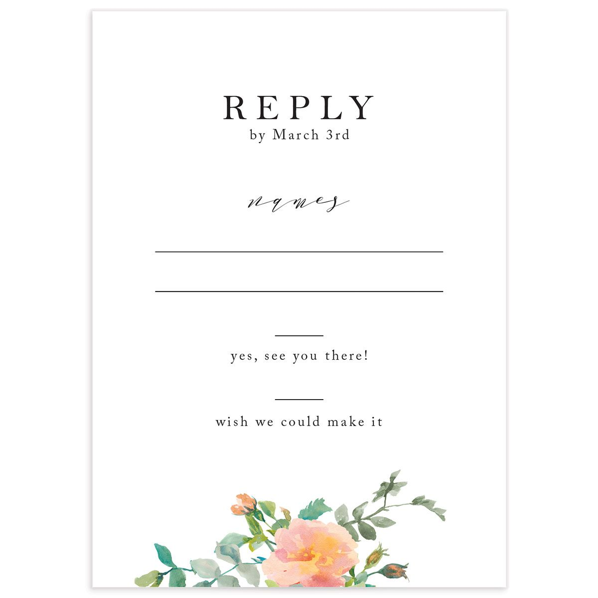 Minimal Floral wedding response card front
