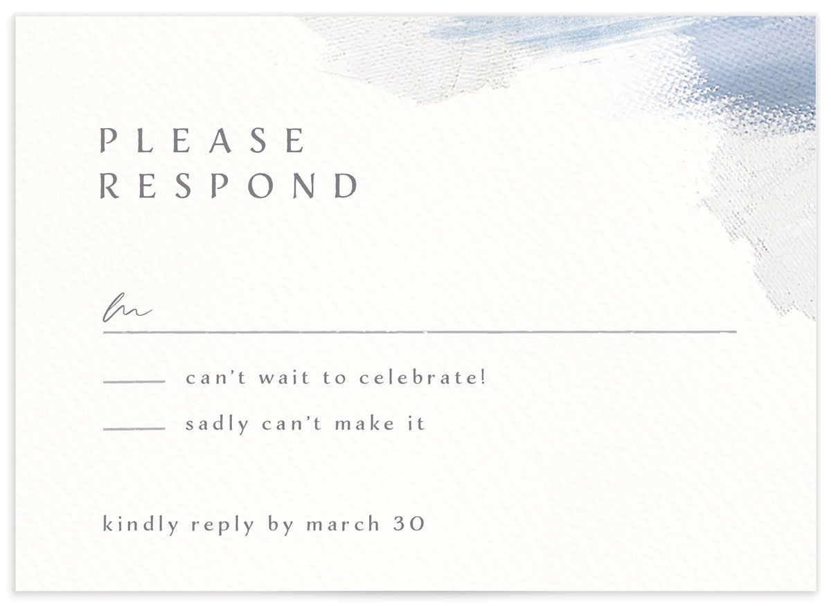 Minimal Brush RSVP card blue front
