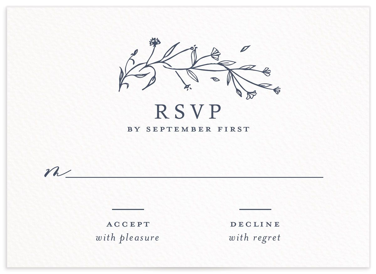 Natural Monogram wedding response card in blue front