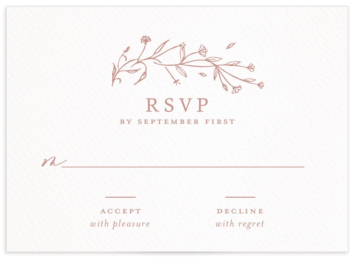 Natural Monogram wedding response card in pink front
