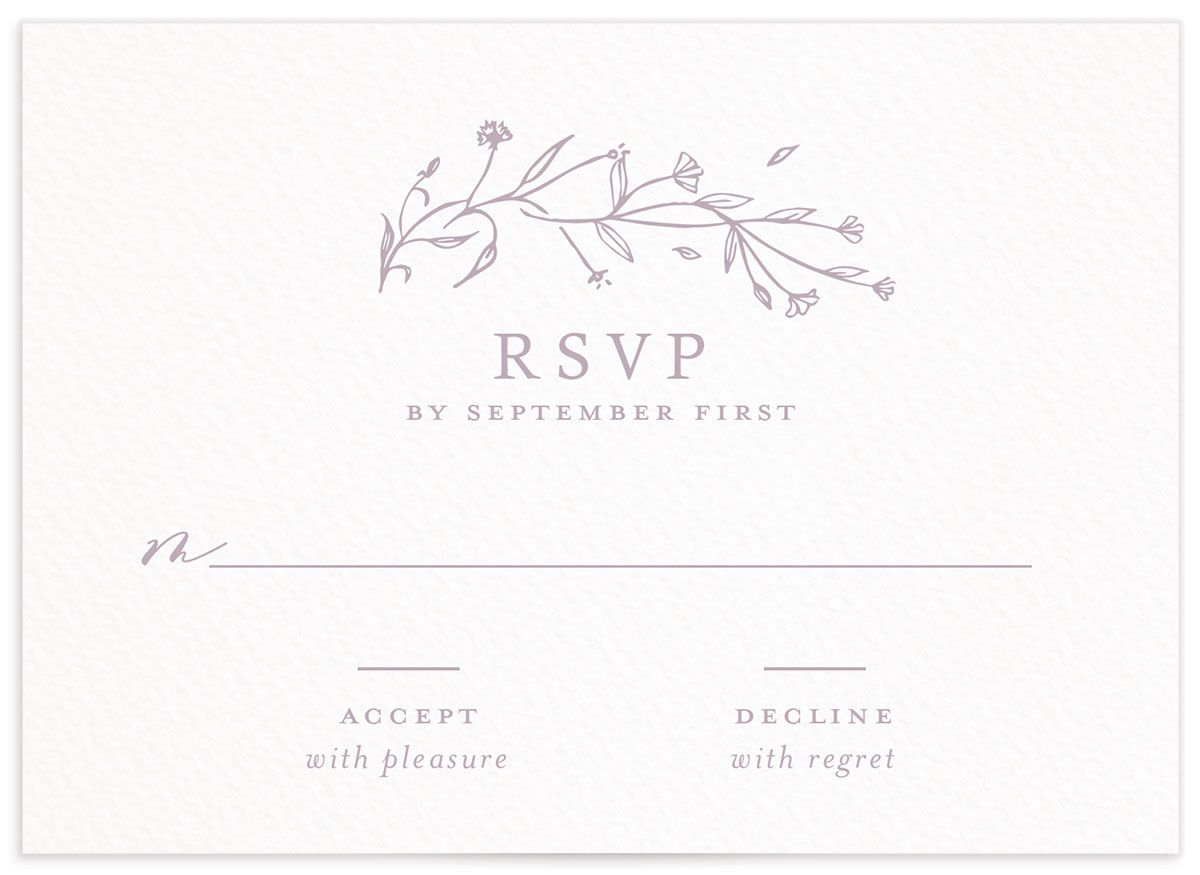 Natural Monogram wedding response card in purple front