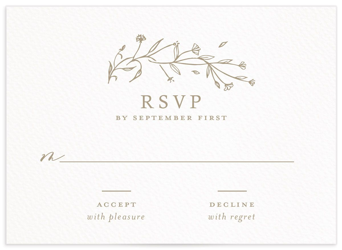 Natural Monogram wedding response card in tan front