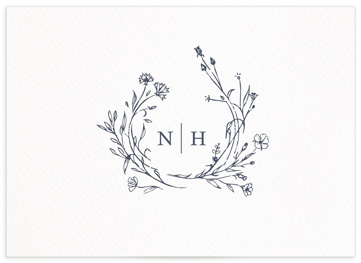 Natural Monogram wedding response card in blue back