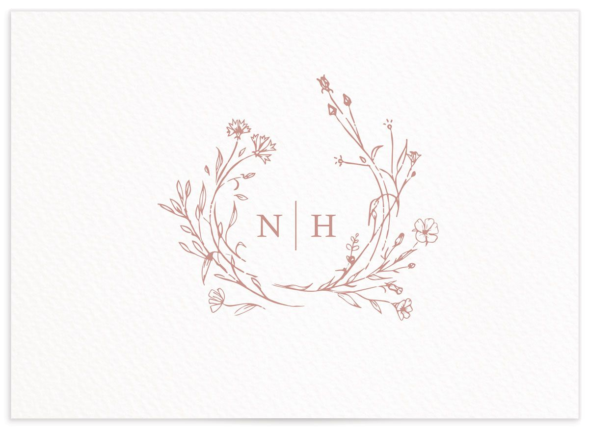 Natural Monogram wedding response card in pink back
