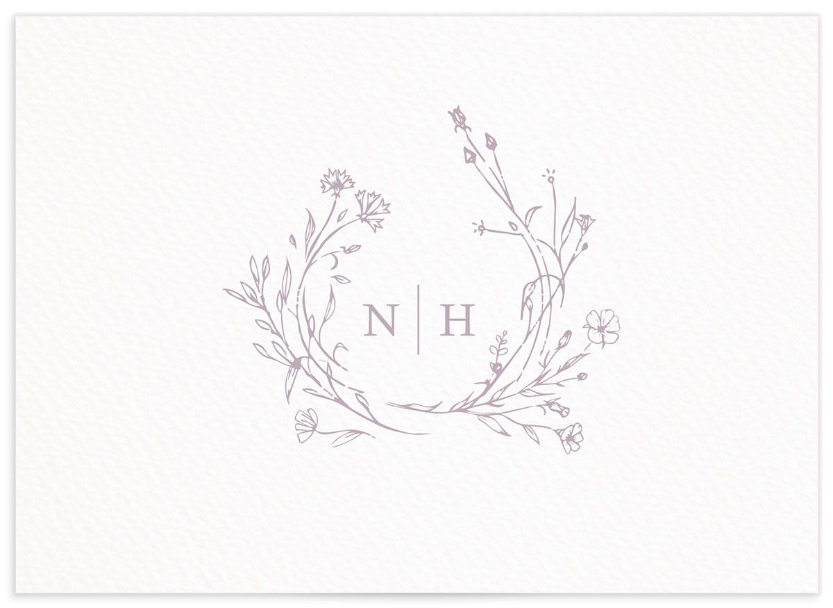 Natural Monogram wedding response card in purple back