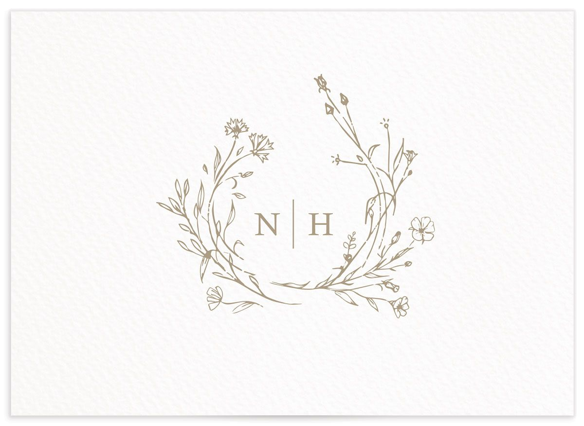 Natural Monogram wedding response card in tan back