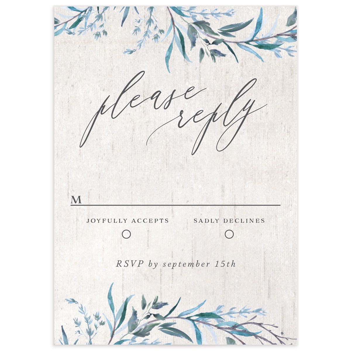 Natural Laurel RSVP card front