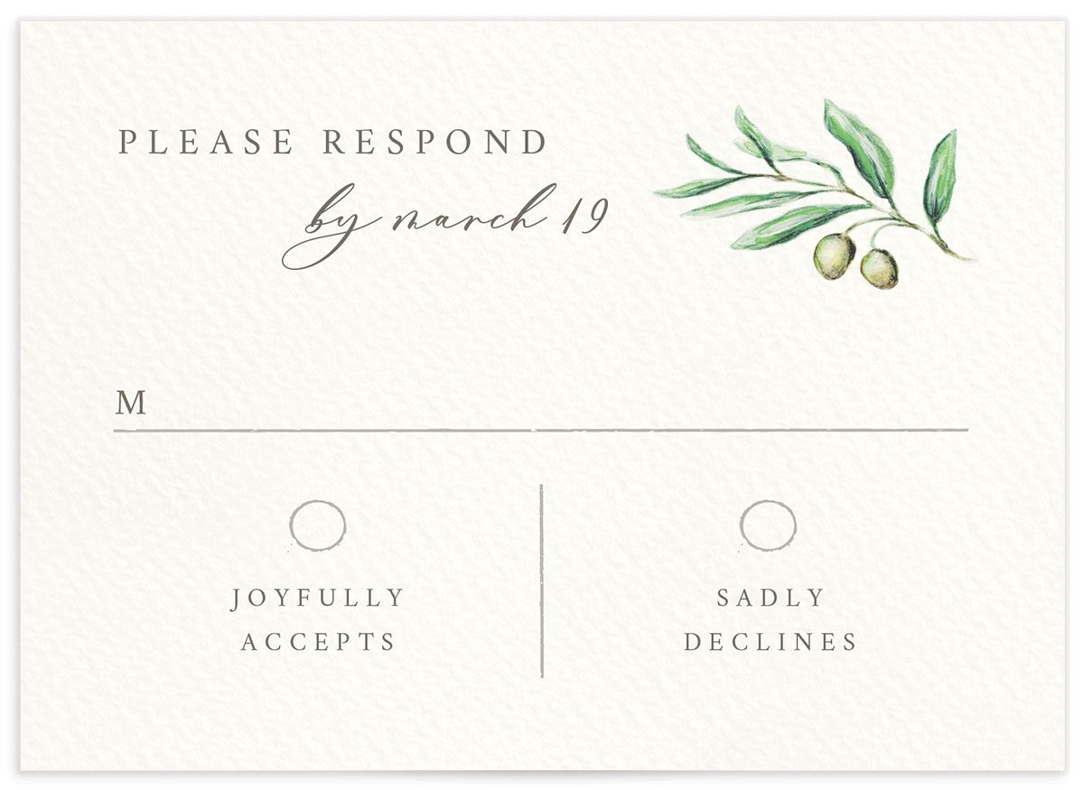 Painted Winery RSVP card