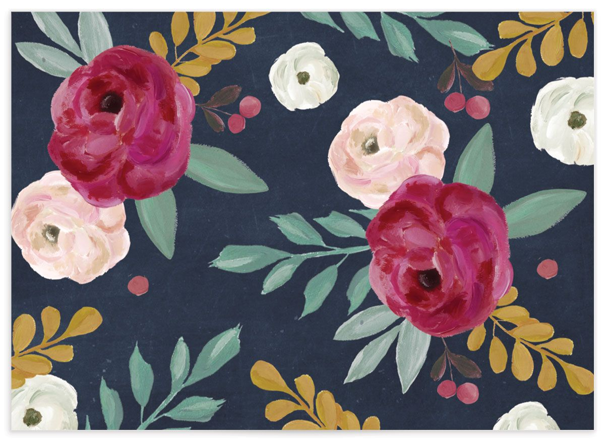 Painterly Blooms RSVP card back