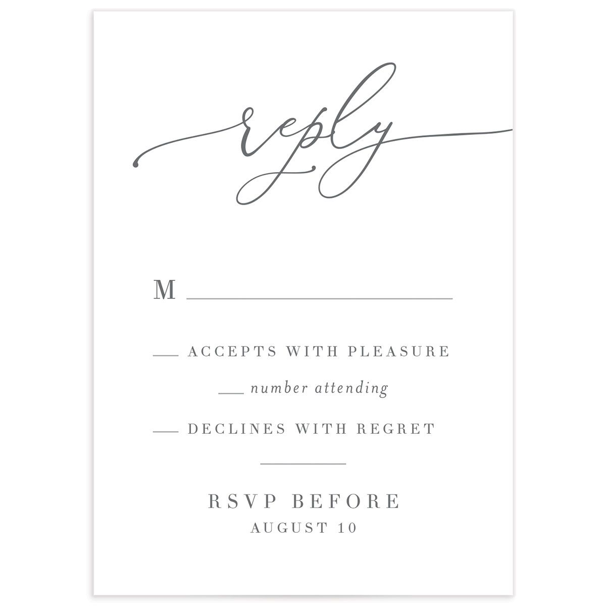Romantic Calligraphy wedding RSVP card front