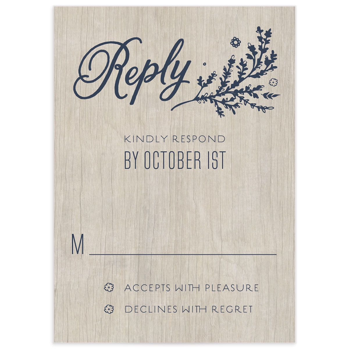 rustic chic wedding rsvp cards in navy
