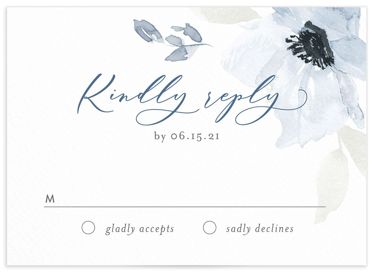 Shades of Blue Wedding Response Cards