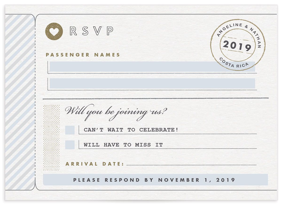 Vintage Boarding Pass RSVP card blue front