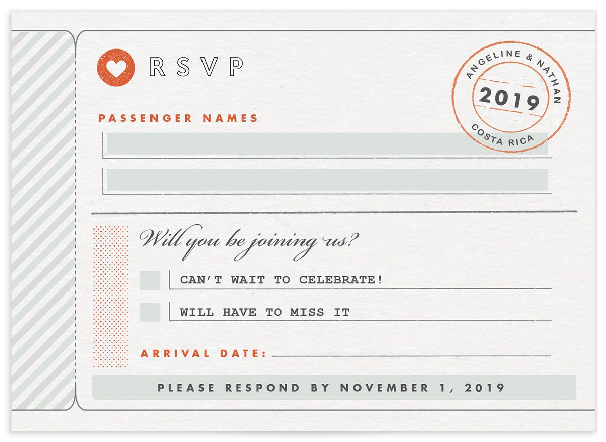 Vintage Boarding Pass RSVP card green front