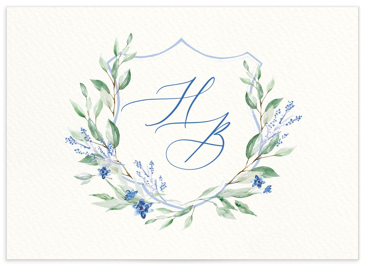 watercolor crest wedding rsvp cards in blue back
