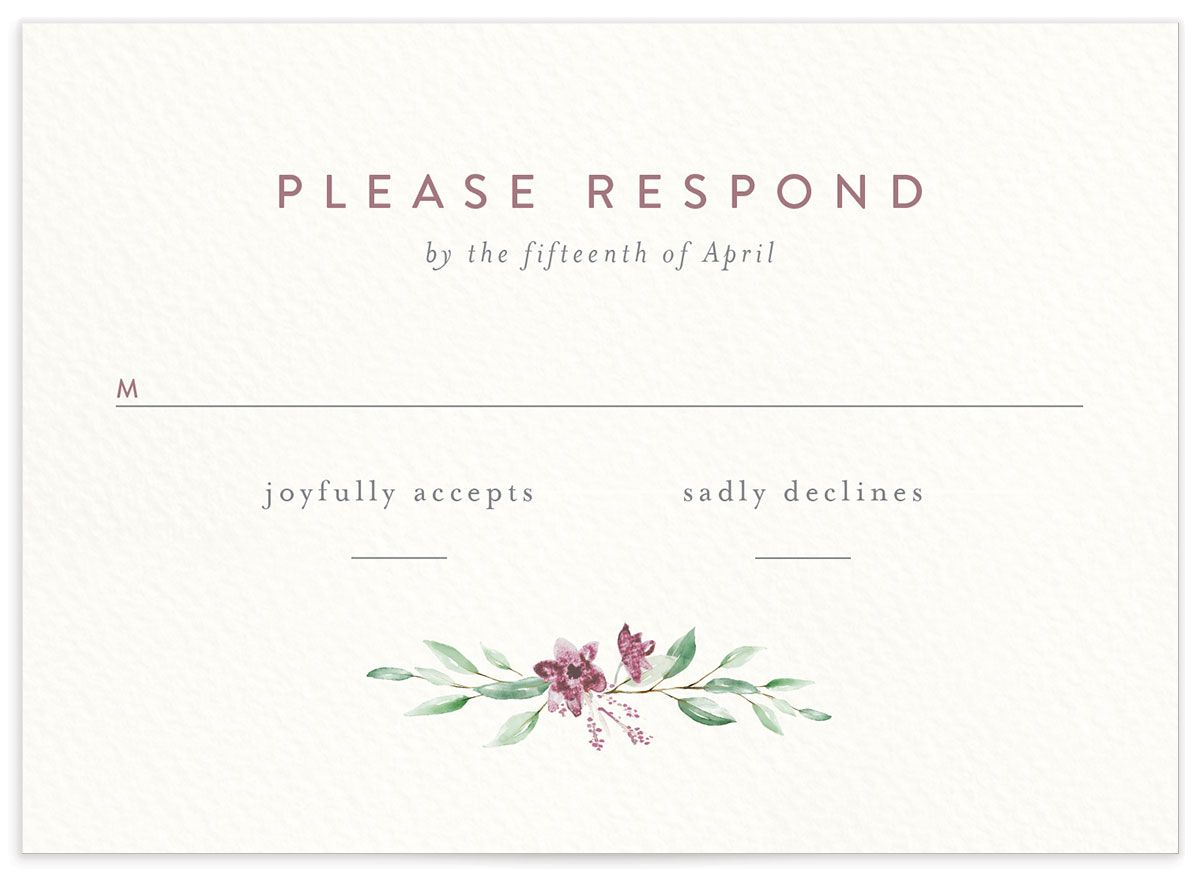 watercolor crest wedding rsvp cards in pink