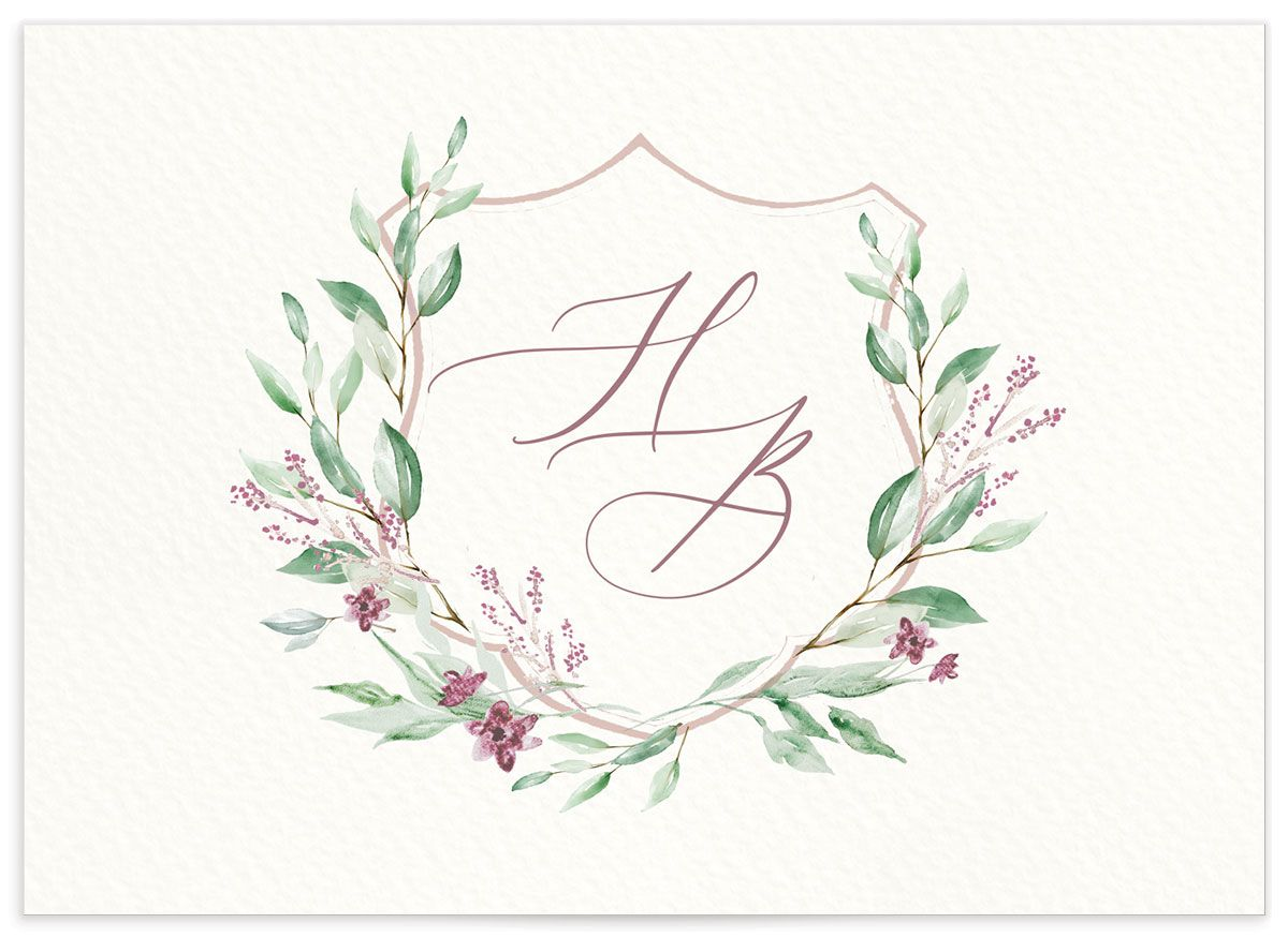 watercolor crest wedding rsvp cards in pink back