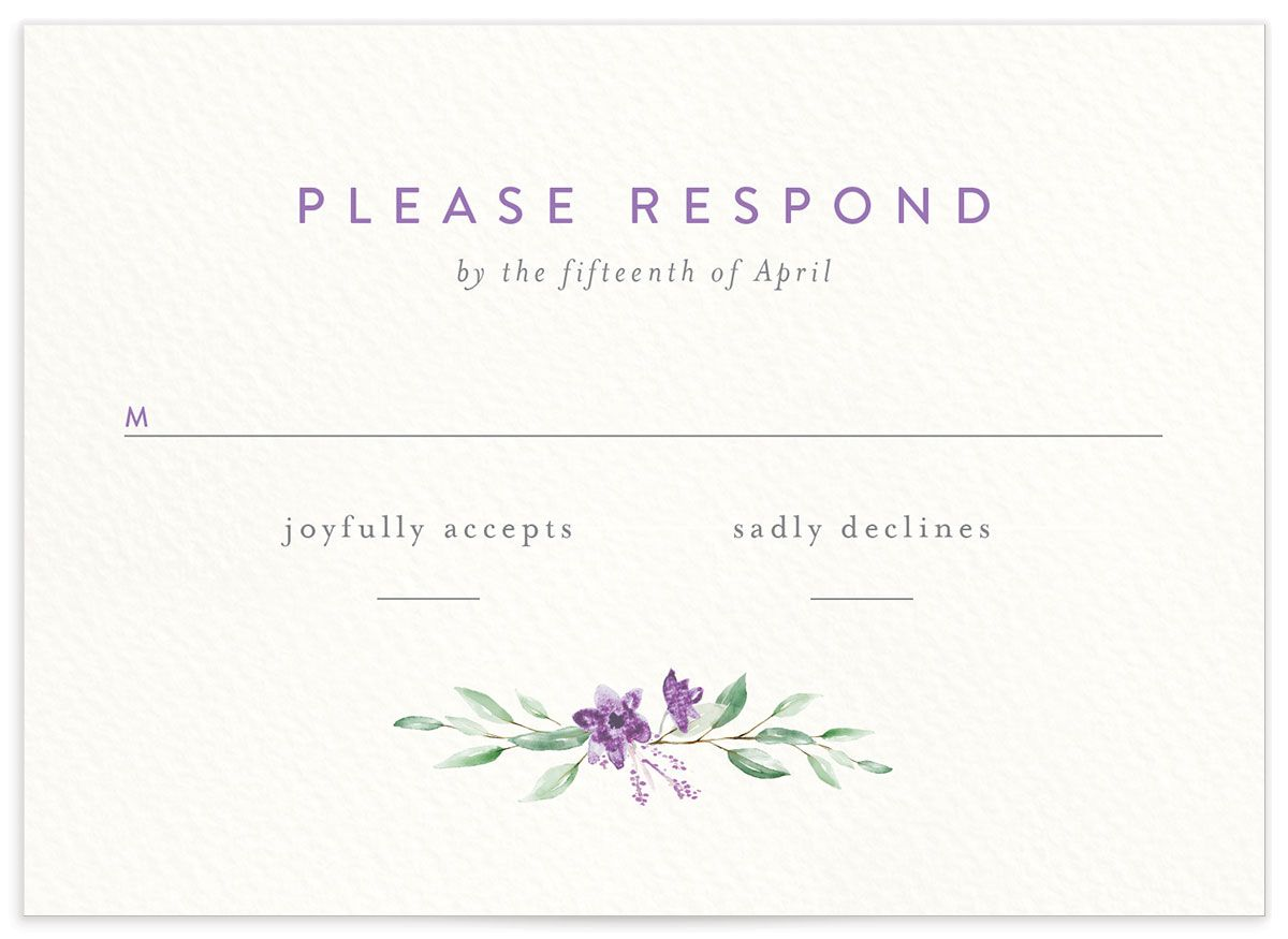 watercolor crest wedding rsvp cards in purple