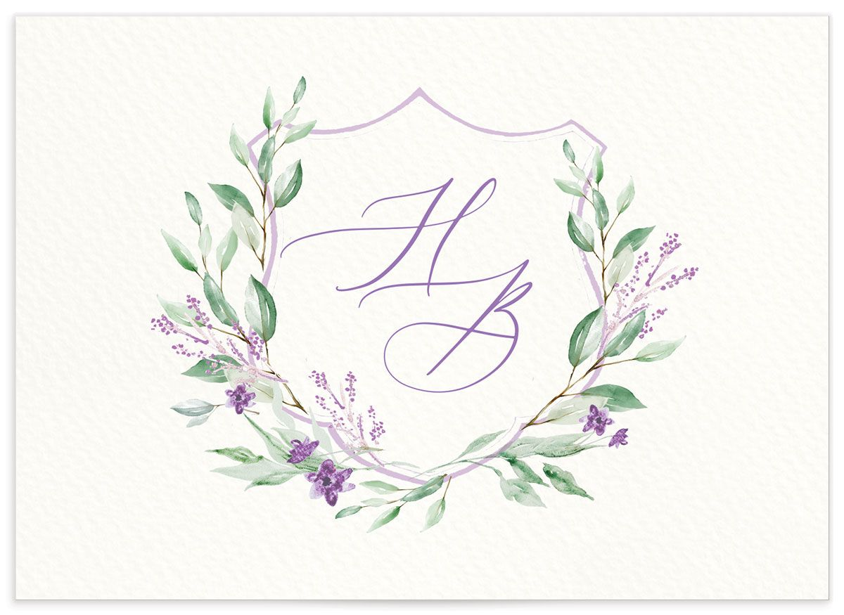 watercolor crest wedding rsvp cards in purple back