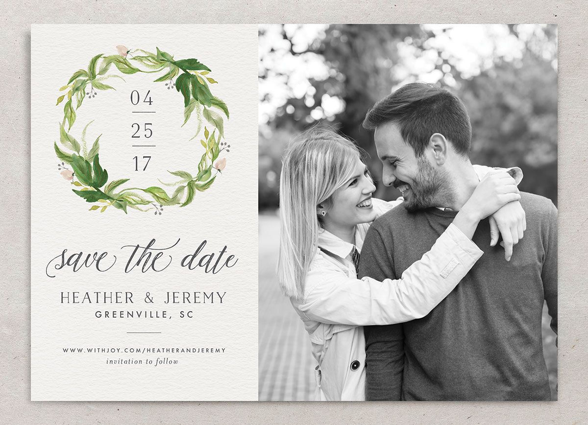 leafy wreath photo save the date cards in green