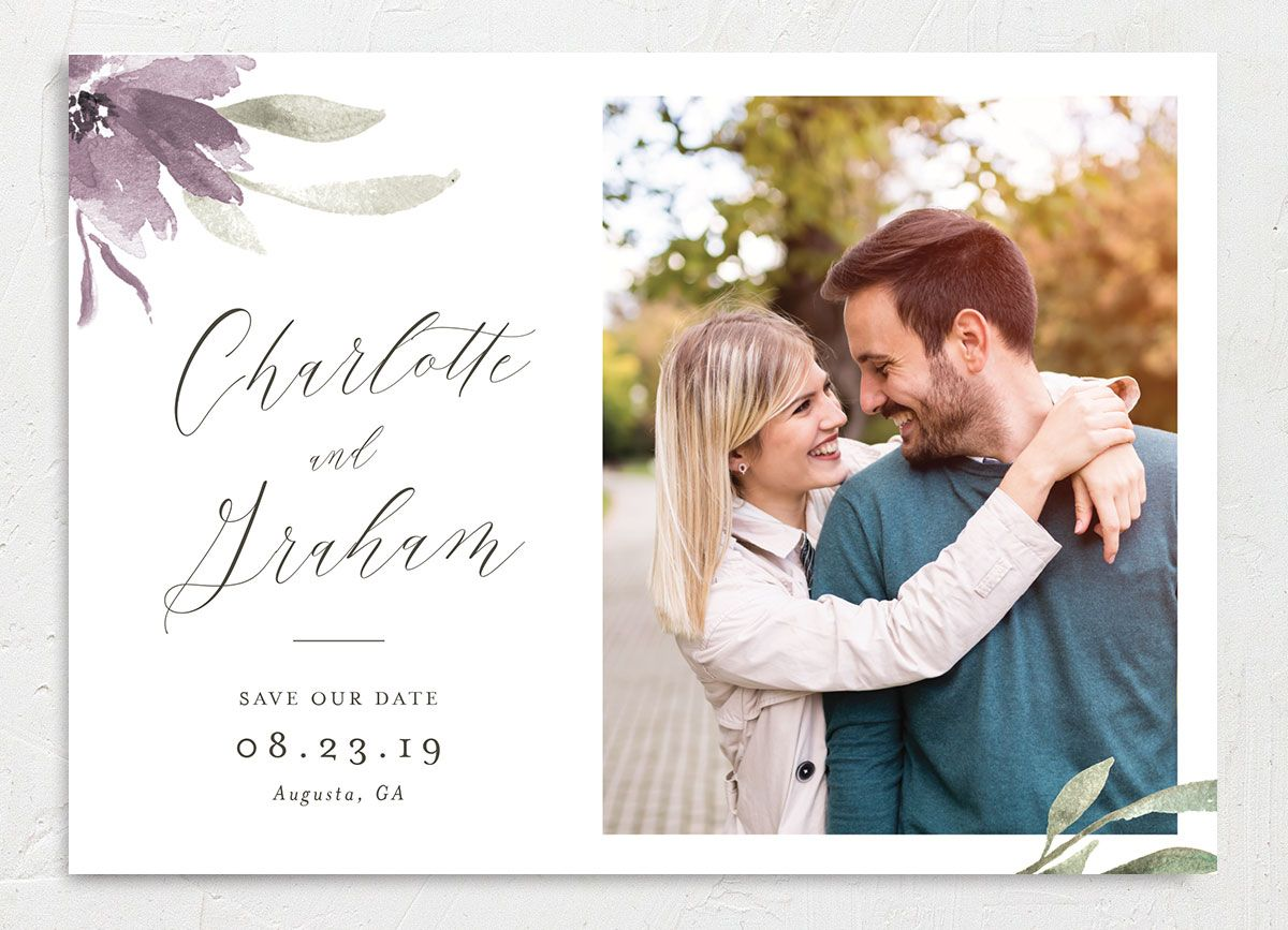 muted floral photo save the date cards in purple