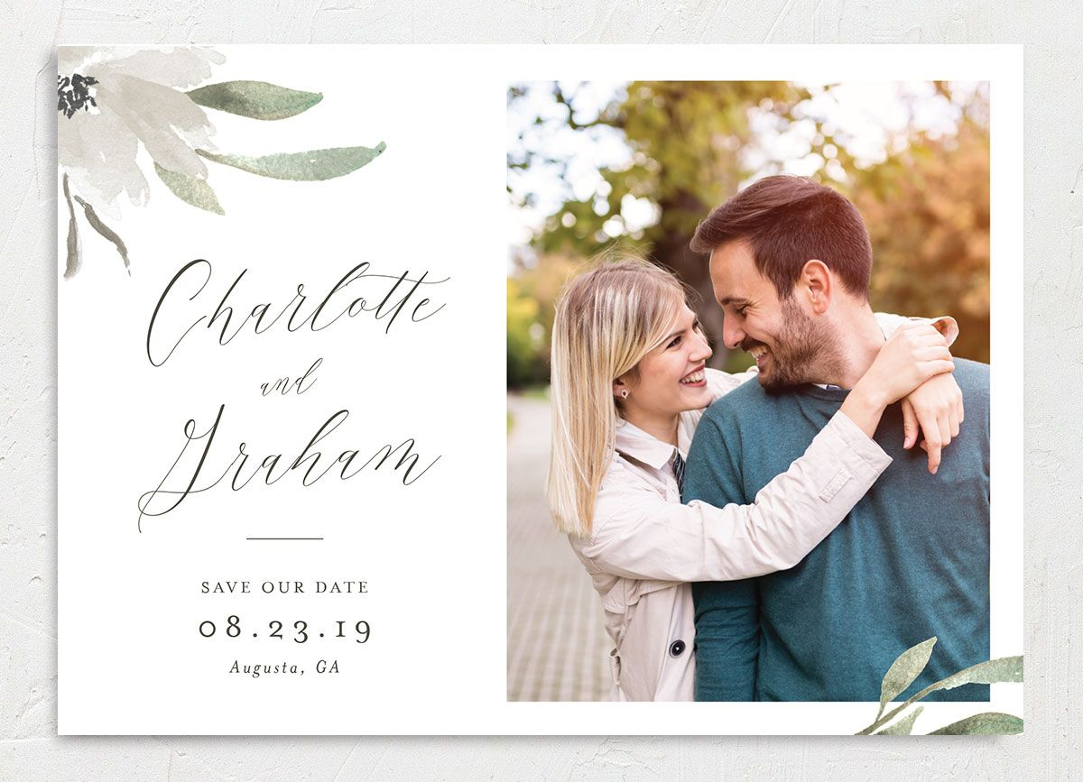 muted floral photo save the dates in white