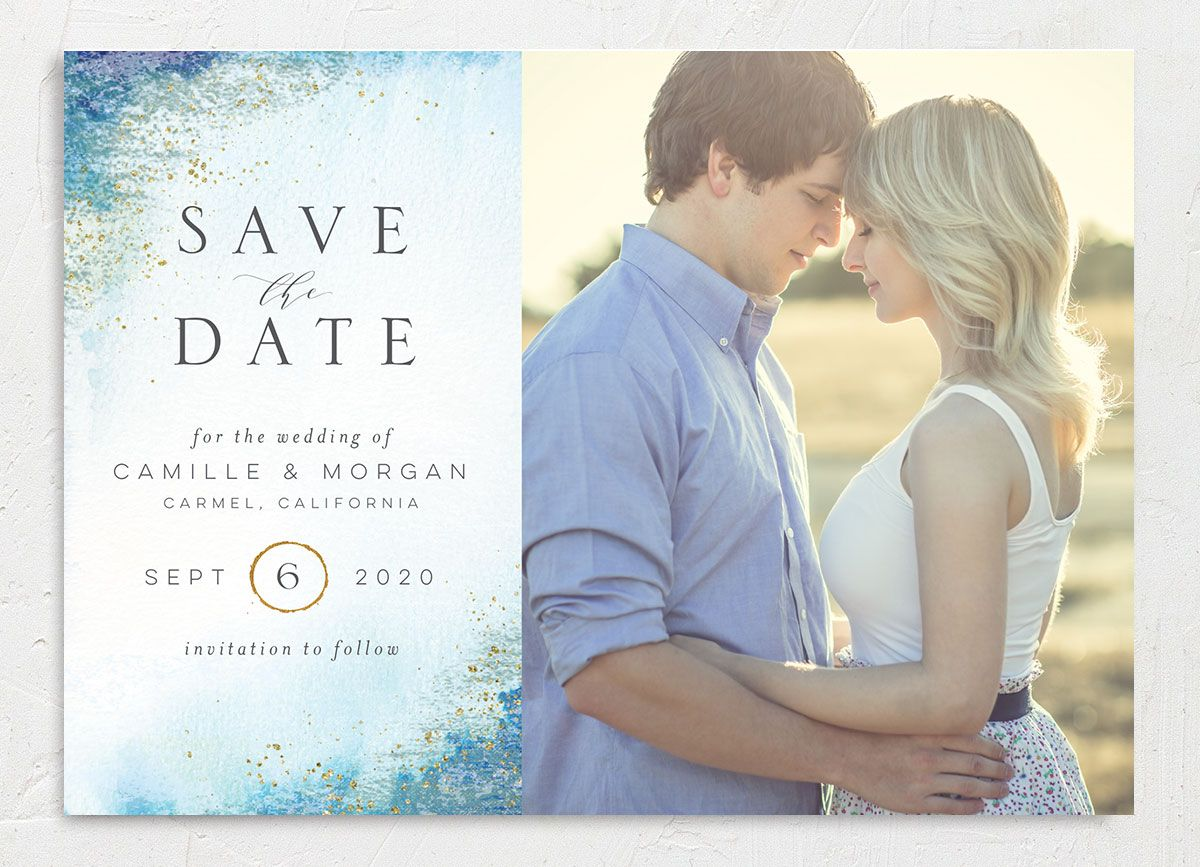 organic luxe photo save the date cards in blue
