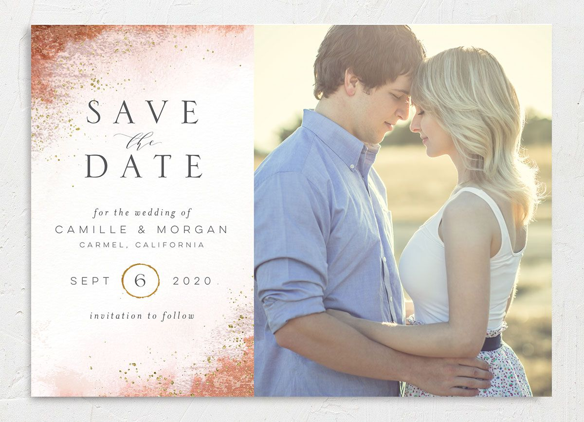 organic luxe photo save the date cards