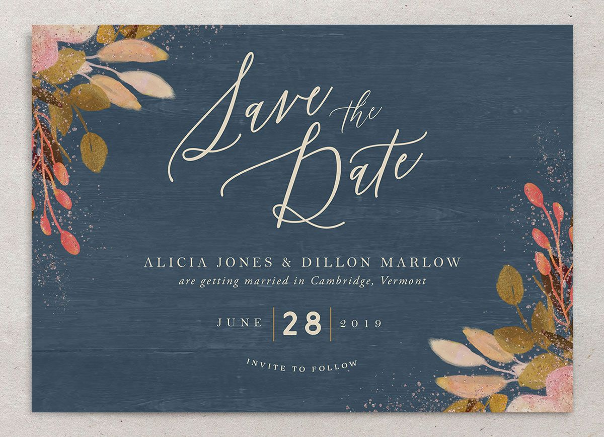 Rustic Leaves Save the Date Cards
