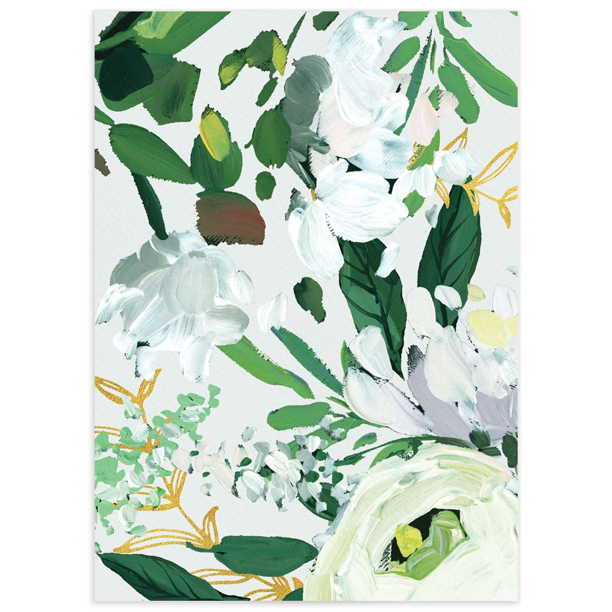 Painted Greenery enclosure card white back